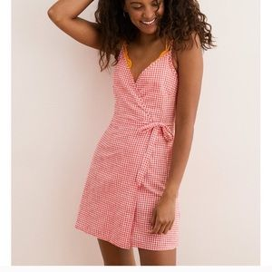 Aerie gingham wrap dress